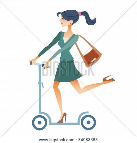 Businesswomen Scooter Rides To Work