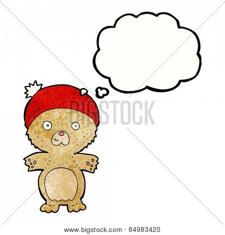 cartoon cute teddy bear in hat with thought bubble