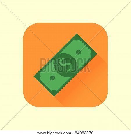 Icon dollar bill into flat style