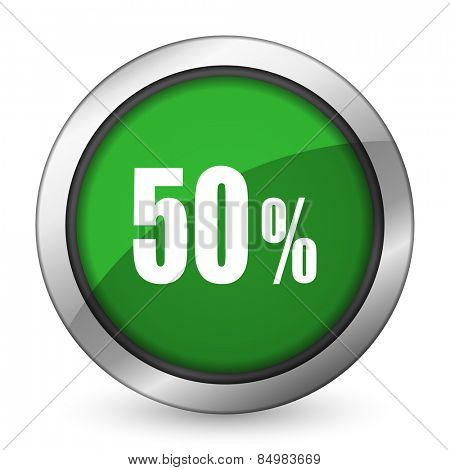 50 percent green icon sale sign