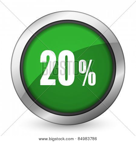 20 percent green icon sale sign