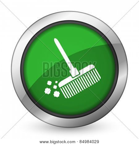 broom green icon clean sign