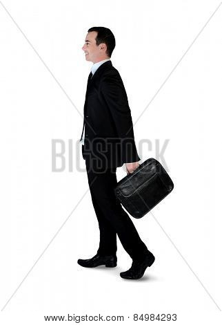 Isolated business man walk side