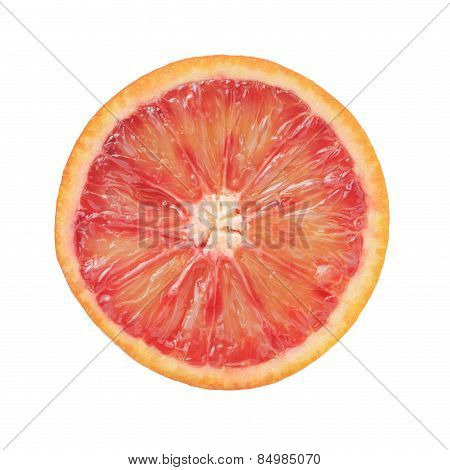 half of ripe blood red orange isolated
