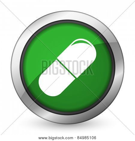 drugs green icon medical sign