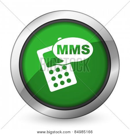 mms green icon phone sign