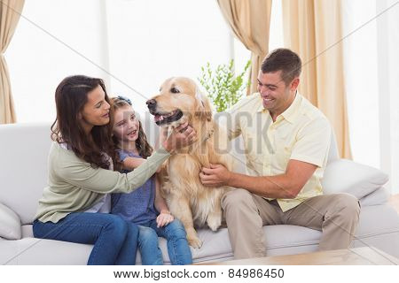 Loving family stroking dog while sitting on sofa at home