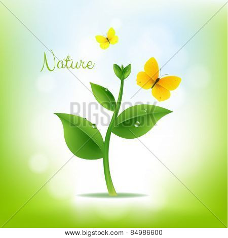 Plant With Nature Background With Gradient Mesh, Vector Illustration