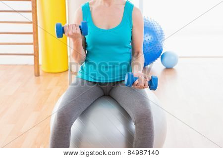 Woman exercising with dumbbells on fitness ball in fitness studio