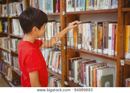 Side view of cute little boy selecting book in the library