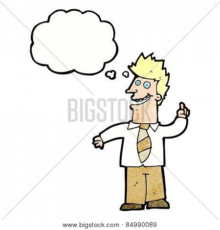 cartoon man with good idea with thought bubble
