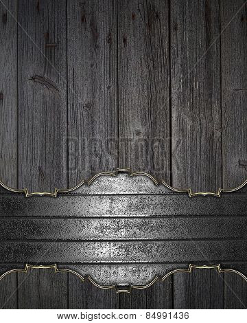 Background Of The Boards With Metal Plate. Template Design.