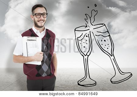 Geeky man holding clipboard in vest against cloudy sky background