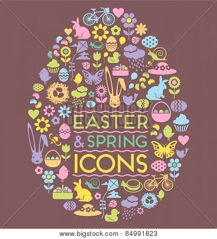 Easter and spring icons within an egg shape