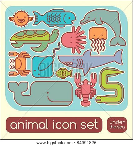 Marine animals icon children's puzzle set
