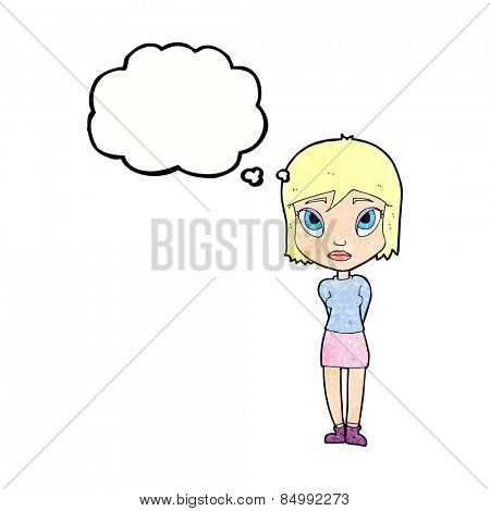 cartoon shy girl with thought bubble
