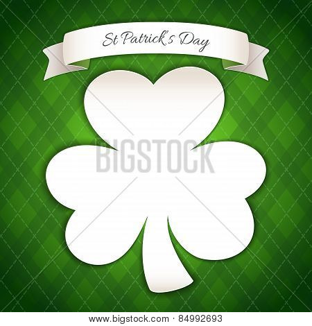 St Patricks Day Poster with Paper Clover