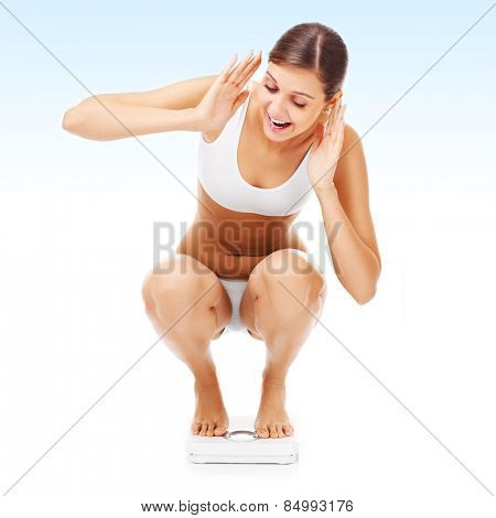 A picture of a shocked woman on a bathroom scales over bluish background