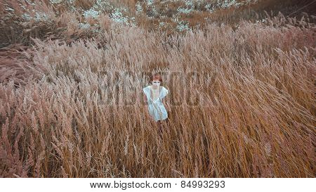 The Woman In A White Dress Stays In The Field