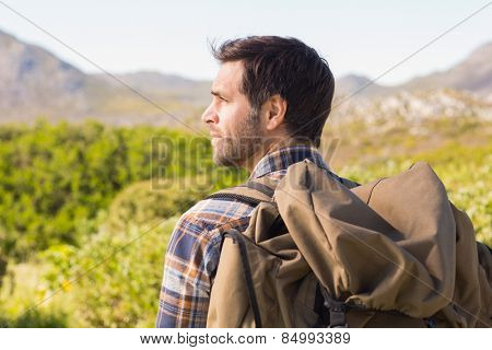 Man hiking in the mountains on a sunny day