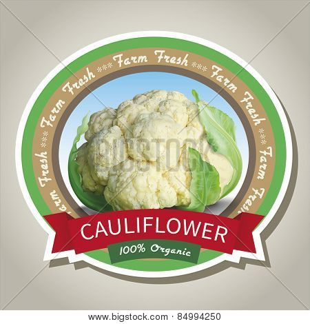Cauliflower label design. Vector eps 10.