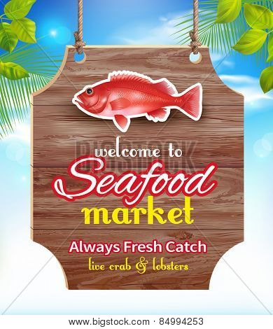 Seafood market signboard. Vector eps 10.
