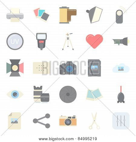 Photo Equipment End Editing Flat Icons Set