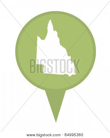Australia Queensland State map marker pin isolated on a white background.