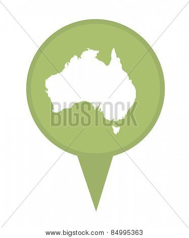 Australia map marker pin isolated on a white background.