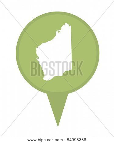 Australia State of Western Australia map marker pin isolated on a white background.