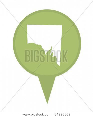 Southern Australia State map marker pin isolated on a white background.