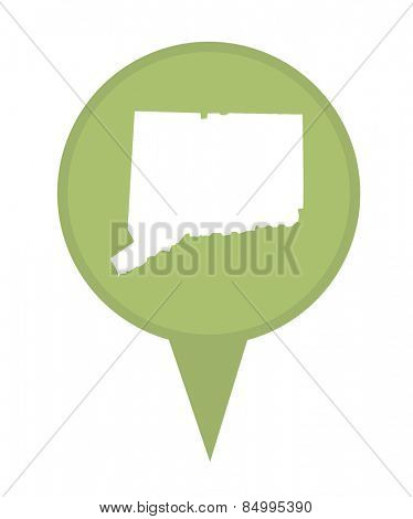 American state of Connecticut marker pin isolated on a white background.