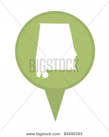 American state of Alabama marker pin isolated on a white background.