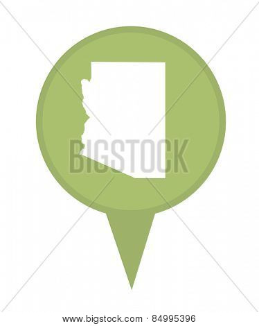American state of Arizona marker pin isolated on a white background.