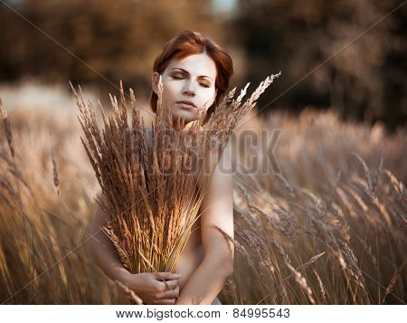 The Nude Woman With A Weeds Bouquet