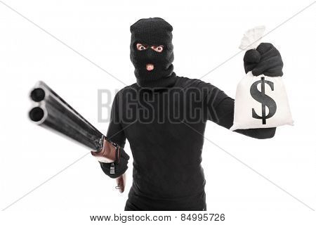 Burglar holding a bag of money and a shotgun isolated on white background