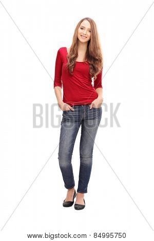 Full length portrait of a pretty woman in casual clothes isolated on white background