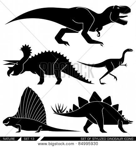 Different types of prehistoric dinosaur icons: rex, trex, tyrannosaurus, triceratops, stegosaurus, lesothosaur. Vector illustration.