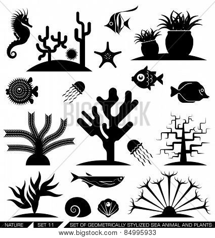 Set of geometrically stylized sea animal and plant icons. Vector illustration. Suitable for various purposes, can be incorporated in logo due to their geometrical style.