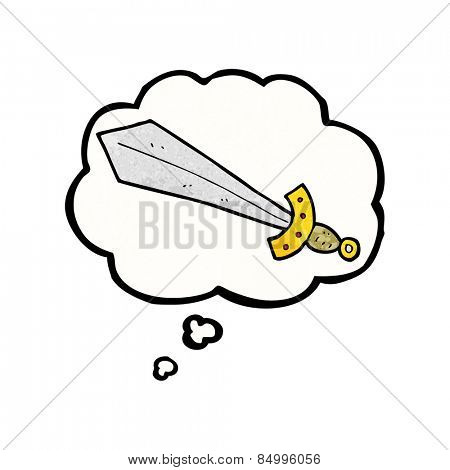cartoon sword with thought bubble