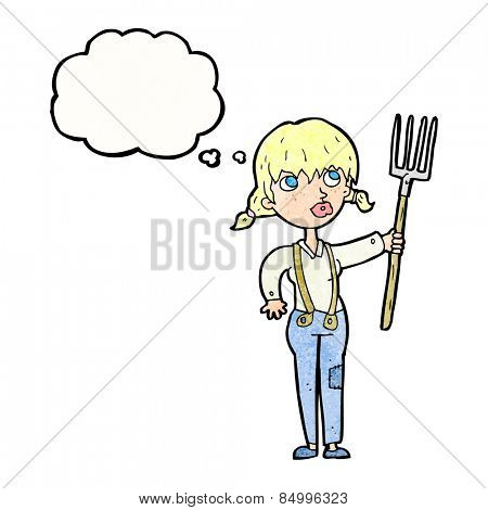 cartoon farmer woman