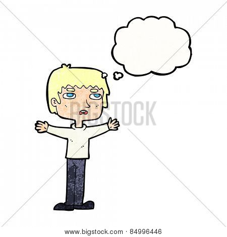 cartoon nervous man with thought bubble