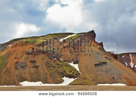 Rhyolite mountains. Colorful smooth mountains in the Icelandic reserve Landmannalaugar.