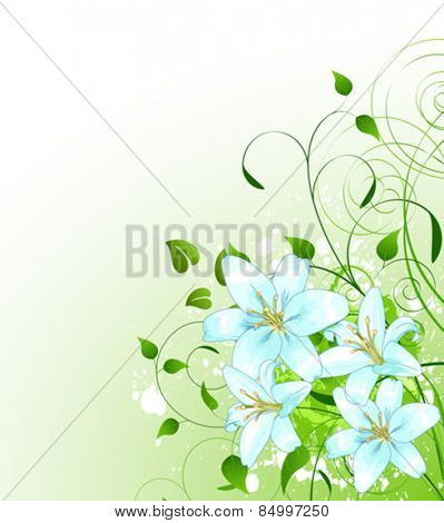 Beautiful green spring background with bunch of Lilly