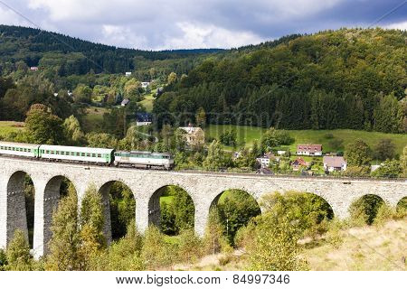 passenger train on viaduct Novina, Krystofovo Valley, Czech Republic