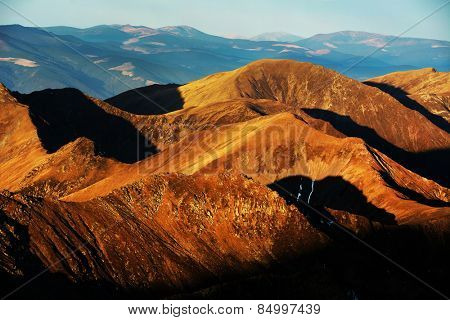 Sunrise colours in the Transylvanian Alps, Romania, Europe