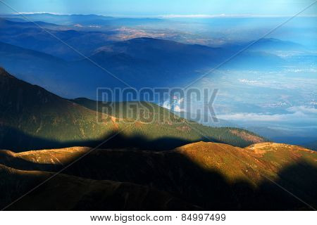 Abstract Sunrise colours in the Transylvanian Alps, Romania, Europe