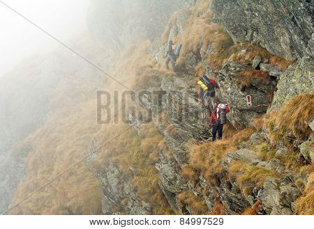 Alpine trekking - harsh foggy conditions