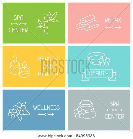 Spa and recreation business cards with icons in linear style