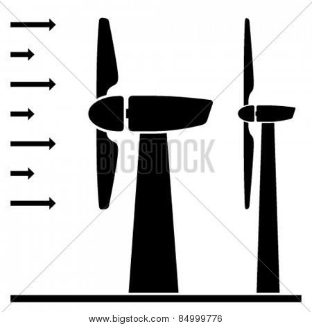 wind power plant black pictograms